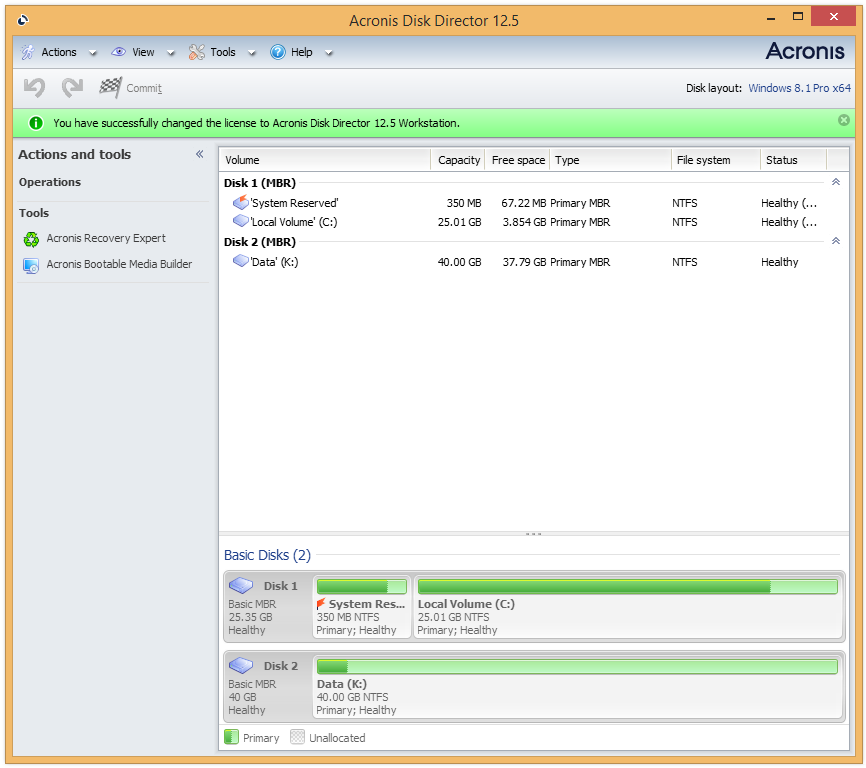 Acronis Disk Director 12 5 How To Switch From Demo To Full Version Knowledge Base